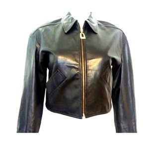 Vintage Carlisle Leather Jacket Size 12 Dark Brown